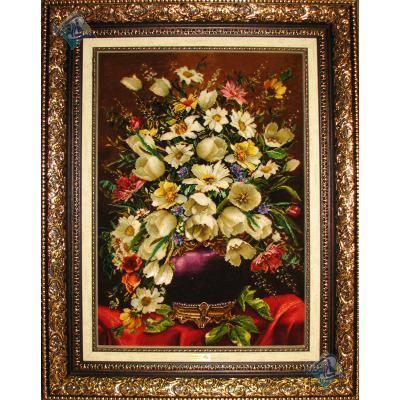 تابلو فرش دستباف تبریز گلدان بنفش چله و گل ابریشم