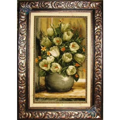 تابلو فرش دستباف تبریز گلدان لاله سفید ابریشم کریمی نژاد