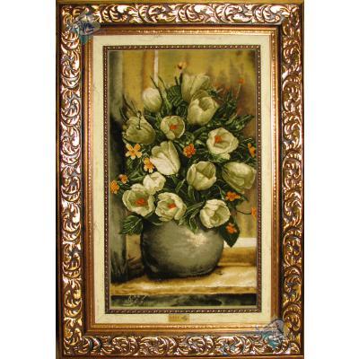 تابلو فرش دستباف تبریز گلدان لاله سفید ابریشم