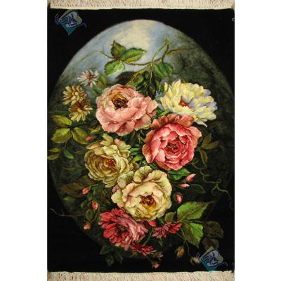 تابلو فرش دستباف تبریز گل و ماه چله و گل ابریشم بدون قاب