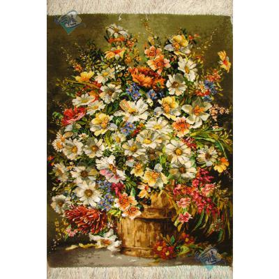 تابلو فرش دستباف تبریز سطل پر گل چله و گل ابریشم بدون قاب