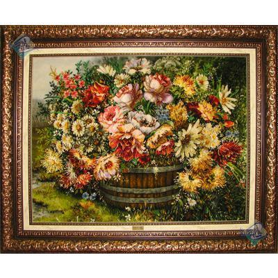 تابلو فرش دستباف تبریز سطل چوبی گل چله و گل ابریشم