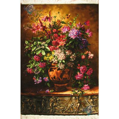 تابلو فرش دستباف تبریز گلدان گل رومی گل ابریشم بدون قاب