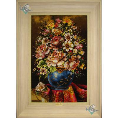تابلو فرش دستباف تبریز طرح گلدان گل ابریشم تولیدی خوشبخت
