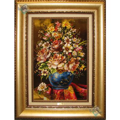تابلو فرش دستباف تبریز طرح گلدان لعابی تولیدی خوشبخت