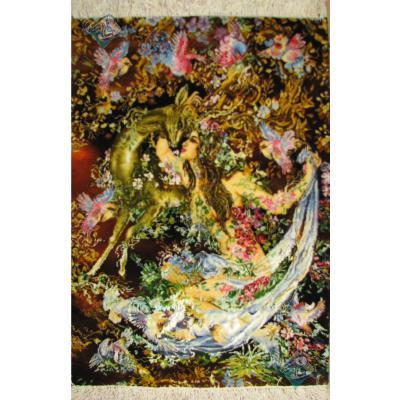 تابلو فرش دستباف تبریز مینیاتورنیاز و نوازش چله و گل ابریشم
