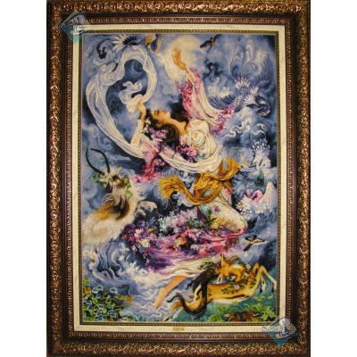 تابلو فرش دستباف مینیاتور فرشچیان برجسته باف گل ابریشم