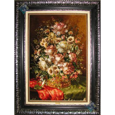 تابلو فرش دستباف تبریز گلدان روی میز چله و گل ابریشم