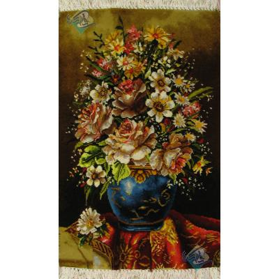تابلو فرش دستباف گلدان سفال چله و گل ابریشم