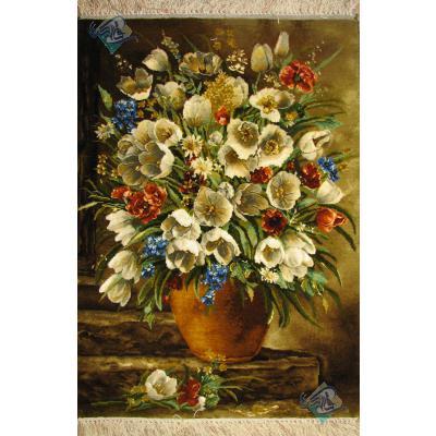 تابلو فرش دستباف تبریز گلدان چله و گل ابریشم