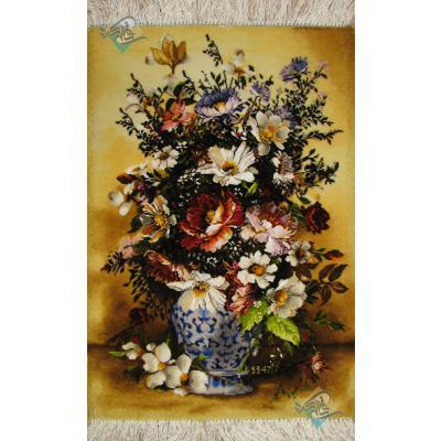 تابلو فرش دستباف تبریز گلدان گل چینی چله و گل ابریشم