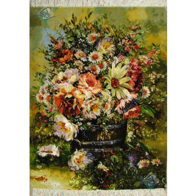 تابلو فرش دستباف تبریز سطل چوبی پرگل  چله و گل ابریشم بدون قاب