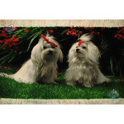 تابلو فرش دستباف تبریز طرح دو سگ چله و گل ابریشم