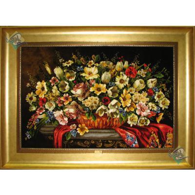 تابلو فرش دستباف تبریز طرح گلدان گل عرضی تولیدی چاوشی