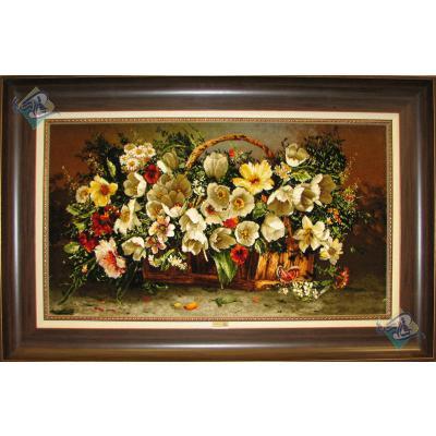 تابلو فرش دستباف تبریز طرح سبدچوبی گل  چله و گل ابریشم