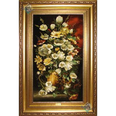 تابلو فرش دستباف تبریز طرح گلدان لاله سفید چله و گل ابریشم