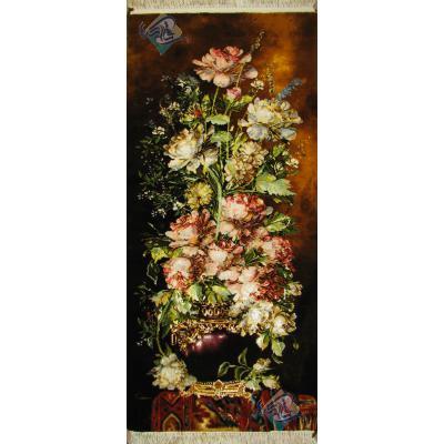 تابلو فرش دستباف تبریز طرح گلدان ستونی وفرش چله و گل ابریشم بدون قاب