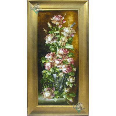 تابلو فرش دستباف تبریز طرح گلدان ستونی آنتیک چله و گل ابریشم بدون قاب