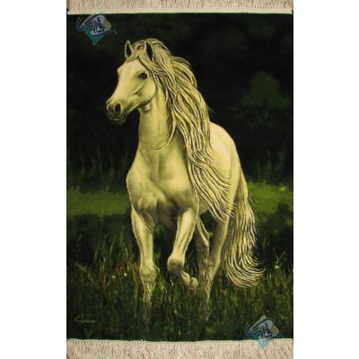 تابلو فرش دستباف تبریز طرح اسب ایستاده چله و گل ابریشم