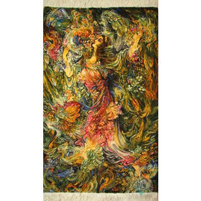 تابلو فرش دستباف تبریز طرح مینیاتوربوی بهار چله و گل ابریشم