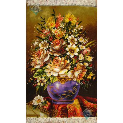 تابلو فرش دستباف تبریز طرح گلدان وفرش چله و گل ابریشم بدون قاب