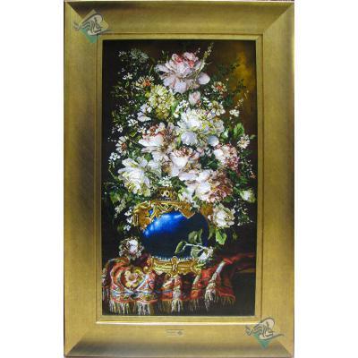 تابلو فرش دستباف تبریز طرح گلدان وفرش چله و گل ابریشم