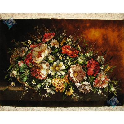 تابلو فرش دستباف تبریز طرح گلدان عرضی و میز چله و گل ابریشم