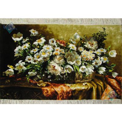 تابلو فرش دستباف تبریز طرح سبد گل لاله چله و گل ابریشم