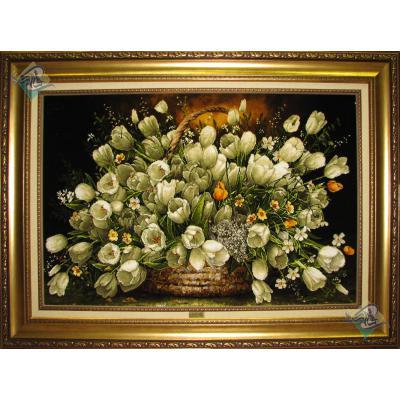 تابلو فرش دستباف تبریز طرح سبد گل لاله سفید چله و گل ابریشم