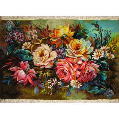 تابلو فرش دستباف تبریز طرح گل عرضی جدید چله و گل ابریشم
