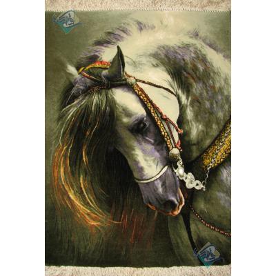 تابلو فرش دستباف تبریز طرح اسب چله و گل ابریشم