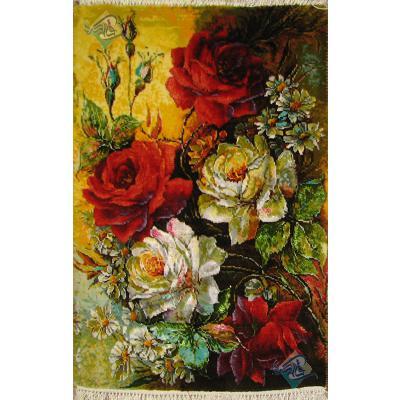 تابلو فرش دستباف تبریز طرح گل رز جدید چله و گل ابریشم