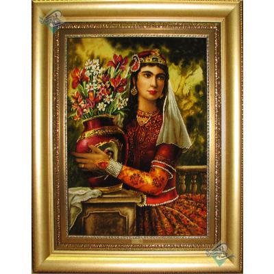 تابلو فرش دستباف تبریز طرح دختر قاجار چله و گل ابریشم بدون قاب
