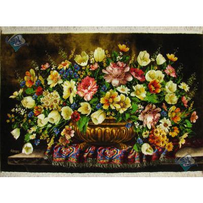 تابلو فرش دستباف تبریز طرح گل عرضی میز و فرش چله و گل ابریشم