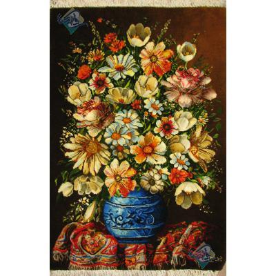 تابلو فرش دستباف تبریز طرح گلدان گل و فرش چله و گل ابریشم