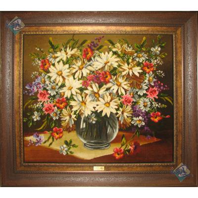 تابلو فرش دستباف تبریز طرح گلدان شیشه ای چله و گل ابریشم