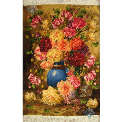 تابلو فرش دستباف تبریز طرح گلدان آبی گل چله و گل ابریشم