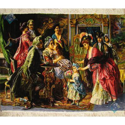 تابلو فرش دستباف تبریز طرح فرانسوی تولد مادر بزرگ