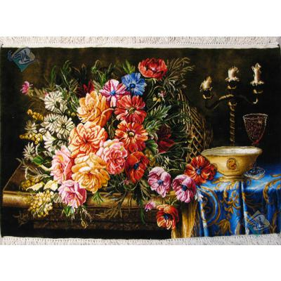 تابلو فرش دستباف تبریز طرح شمعدان و گل روی میز چله و  گل ابریشم  شعر باف بدون قاب