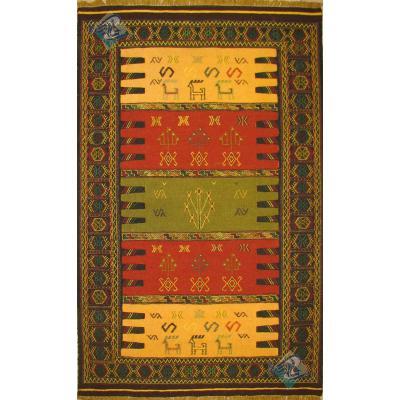 گلیم سوزنی قوچان قالیچه تمام پشم رنگ گیاهی