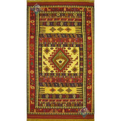 قالیچه سوزنی قوچان نقشه قشقایی تمام پشم رنگ گیاهی دستباف