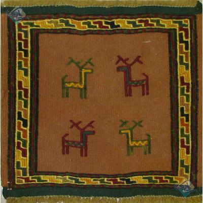 تابلو گلیم سوزنی باف قوچان نقشه چهار بز دستباف