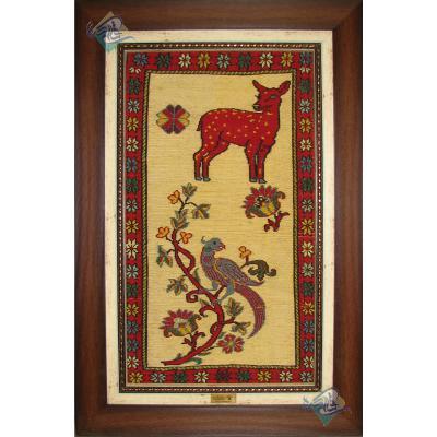 تابلوی سوزنی فرش سیرجان نقش آهو و بلبل دستباف
